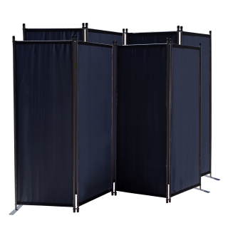 2 Piece Paravent 220 x 165 cm Fabric Room Devider Garden 4-Part Patrition Wall Foldable Balcony Privacy Screen Black