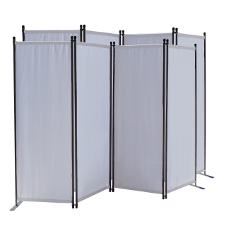 2 Piece Paravent 220 x 165 cm Fabric Room Devider Garden 4-Part Patrition Wall Foldable Balcony Privacy Screen White